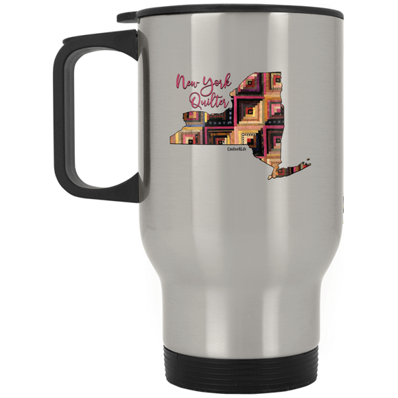 New York Quilter Silver Stainless Travel Mug