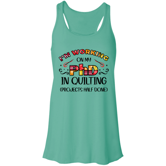 PhD in Quilting Flowy Racerback Tank