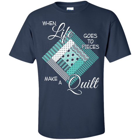 Make a Quilt (turquoise) Custom Ultra Cotton T-Shirt - Crafter4Life - 1