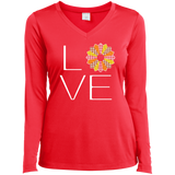 LOVE Quilting (Fall Colors) Ladies Long Sleeve V-neck Tee - Crafter4Life - 5