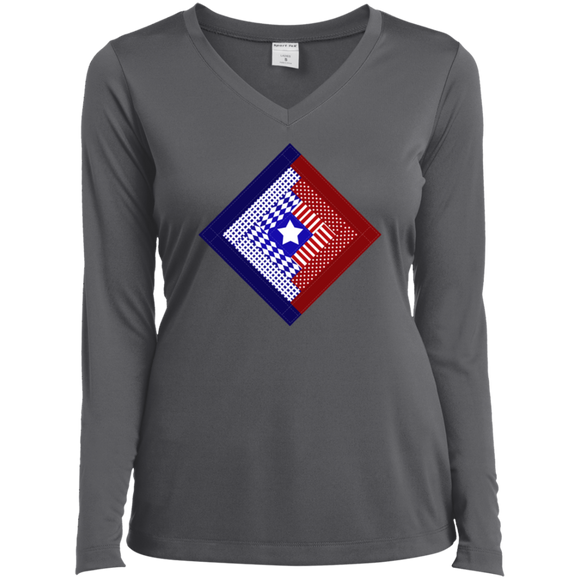 Patriotic Log Cabin Square Ladies' LS Performance V-Neck Shirt