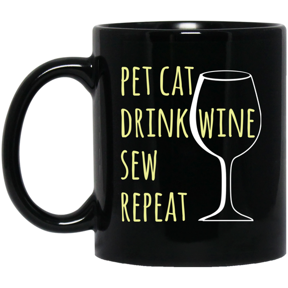 Pet Cat-Drink Wine-Sew Black Ceramic Mugs