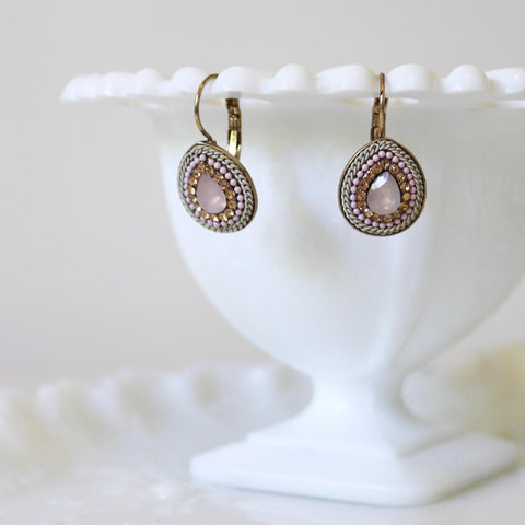 Peach Rhinestone, Pink and Ivory Pearl and Opal Cabochon Teardrop Earrings