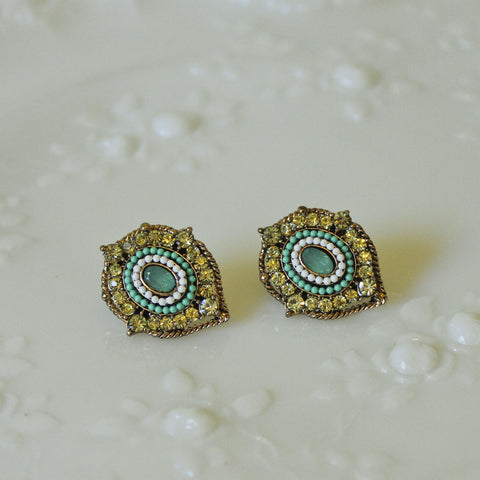 Citrine Rhinestone with Mint Green and White Pearl Post Earrings