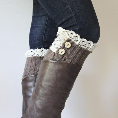 Brown Cable Knit Legwarmer Boot Cuffs with Ivory Crocheted Lace Edged and Button Detail