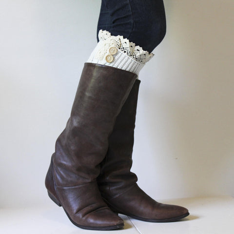 Ivory Cable Knit Boot Cuffs with Crocheted Lace Edges