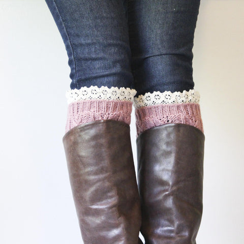 Dusty Rose Cable Knit Boot Cuffs with Ivory Crocheted Lace Edged