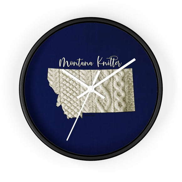 Montana Knitter Wooden Framed Wall Clock