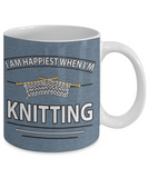 I Am Happiest When I'm Knitting Mug (11oz) - Crafter4Life - 2