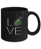 LOVE Knitting Mug 11oz black ceramic