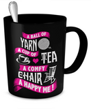 A Ball of Yarn, A Happy Me Mug (black) (11oz) - Crafter4Life - 2