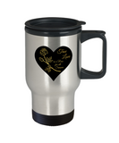 True Love is a Rose for All Seasons - Stainless Steel Insulated Travel Mug (black)