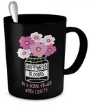 Happiness Blooms with Crafts Mugs (black) (11oz) - Crafter4Life - 2