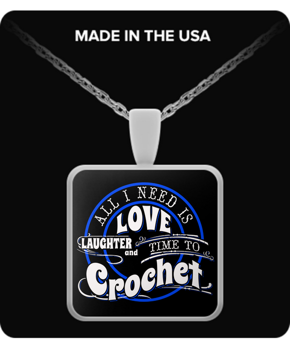 Time to Crochet Pendant (silver plated) - Crafter4Life