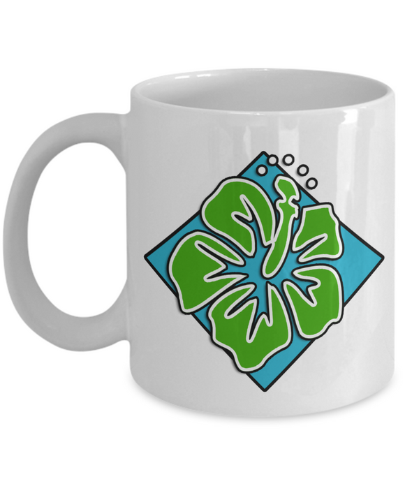 Hawaiian Green Flower - 11 or 15 oz Tiki Ceramic Mug