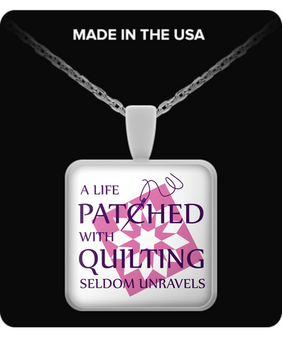 Patched with Quilting Pendant (silver plated) - Crafter4Life