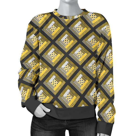 Log Cabin Quilt Yellow Womens Sweater