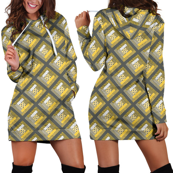 Log Cabin Quilt Yellow Hoodie Dress