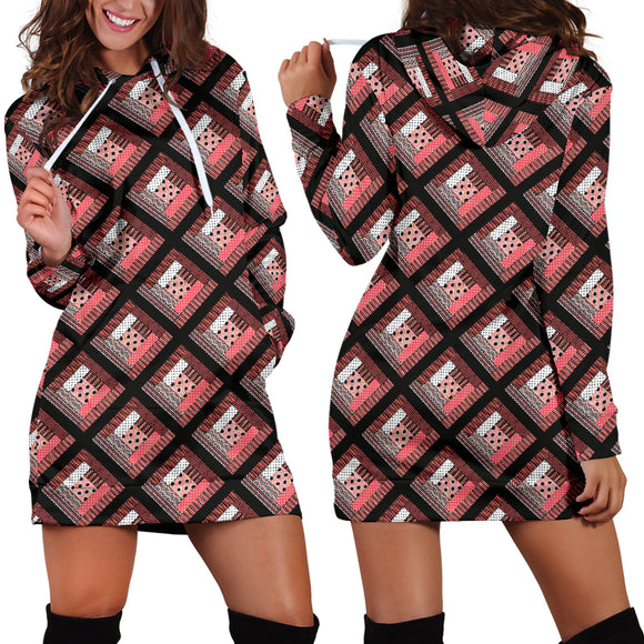 Log Cabin Quilt Pink Hoodie Dress