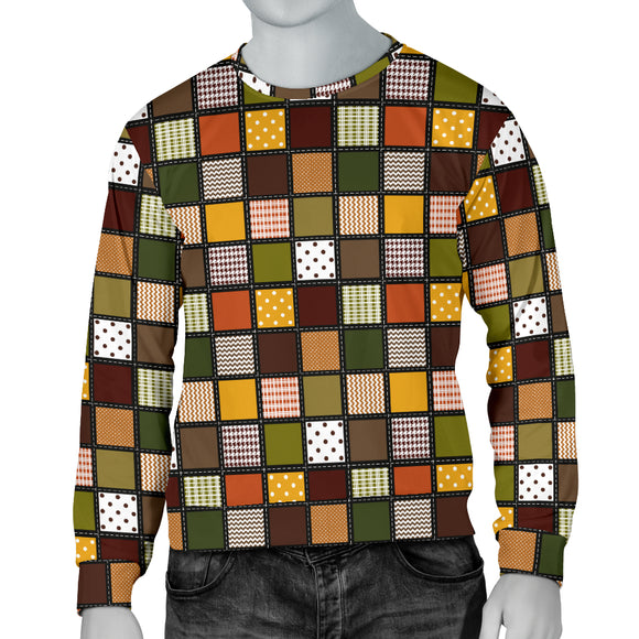 Fall Patchwork Mens Sweater