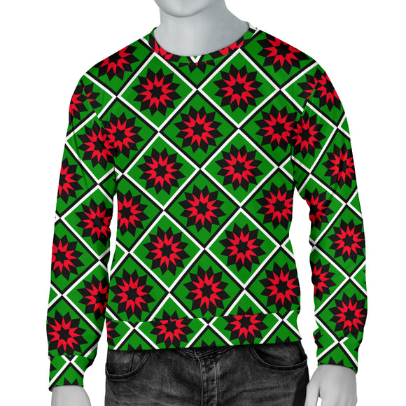 Red and Green Star Quilt Mens Christmas Sweater
