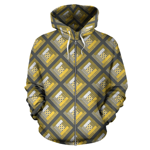 Log Cabin Quilt Yellow and Grey Zip Up Hoodies