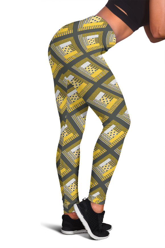 Log Cabin Quilt Leggings - Yellow and Grey