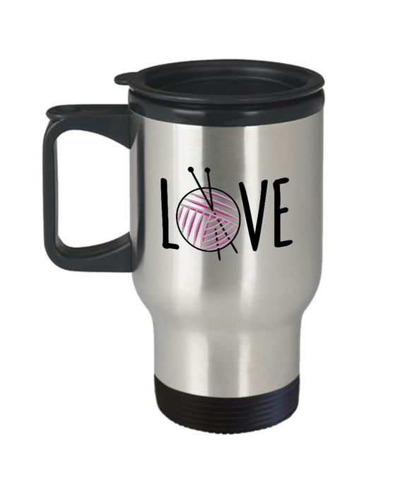 Knitting LOVE Stainless Steel Insulated Travel Mug