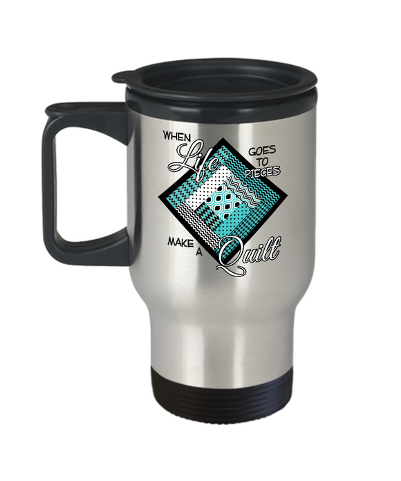 Make a Quilt Stainless Steel Insulated Travel Mug (turquoise)