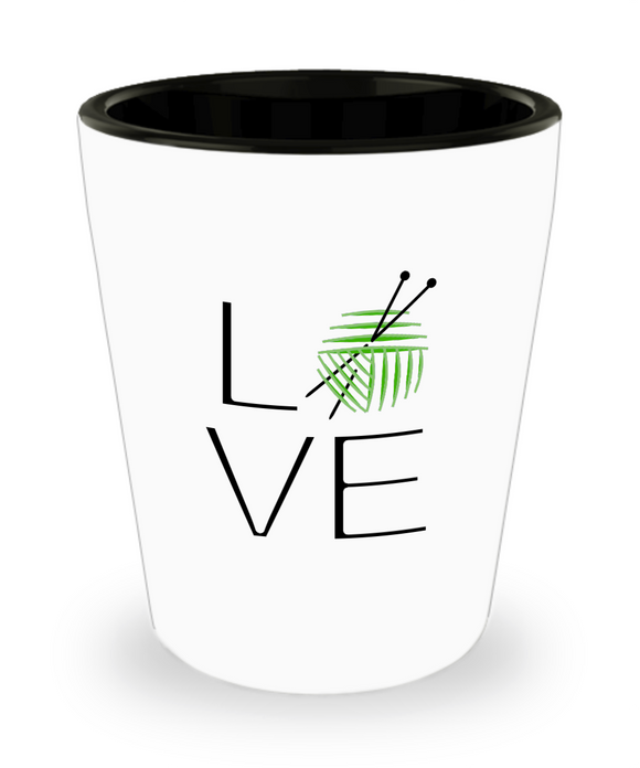 LOVE Knitting Shot Glass
