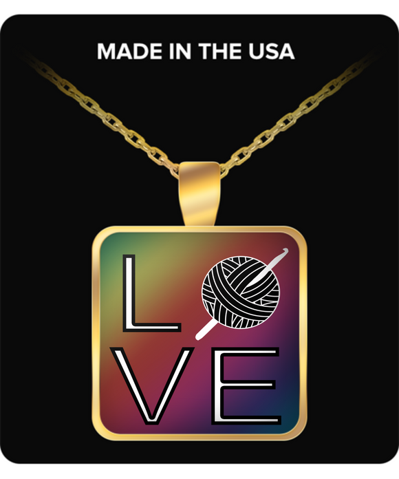 LOVE Crochet Pendant (gold plated) - Crafter4Life