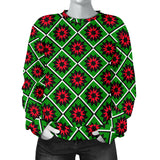 Red and Green Star Quilt Womens Christmas Sweater
