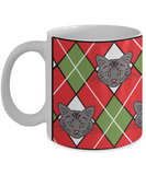 Argyle Cat Christmas - 11 or 15 oz Ceramic Mug - great gift for cat lovers