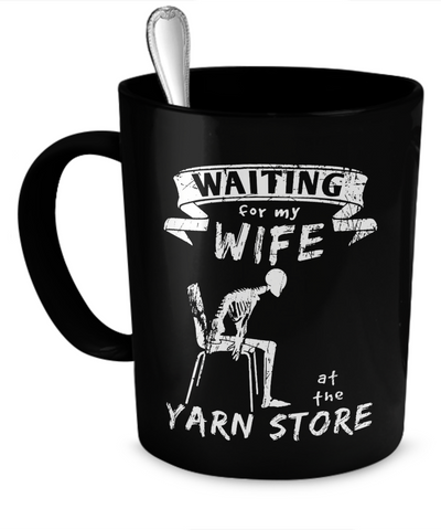 Waiting at the Yarn Store Mug (black) (11oz) - Crafter4Life - 1