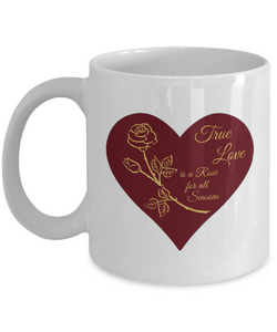 True Love is a Rose for All Seasons - Ceramic Mugs (red)