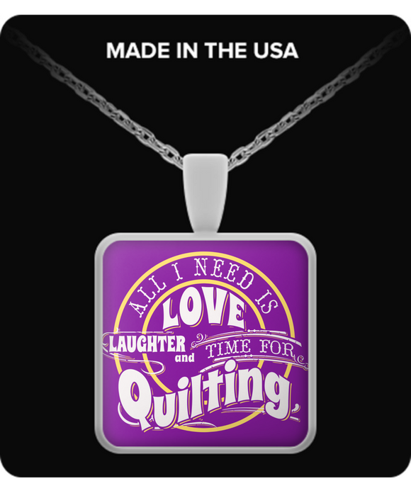 Time for Quilting Pendant (purple) (silver plated) - Crafter4Life