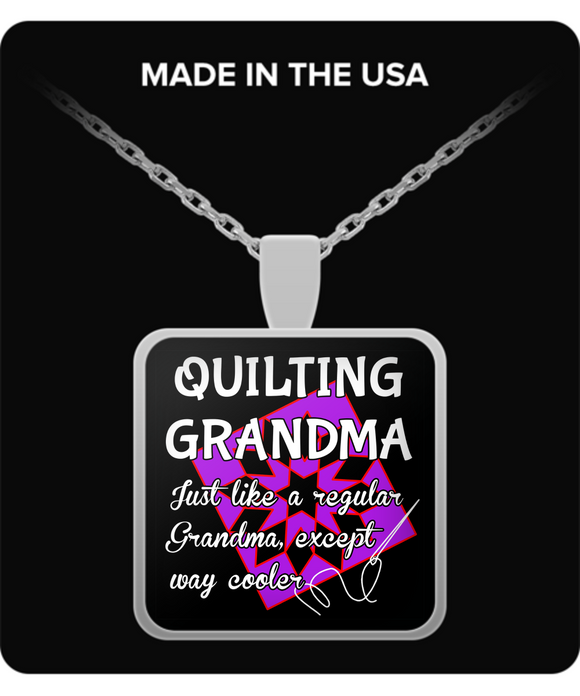 Quilting Grandma Pendant Necklace (silver plated)