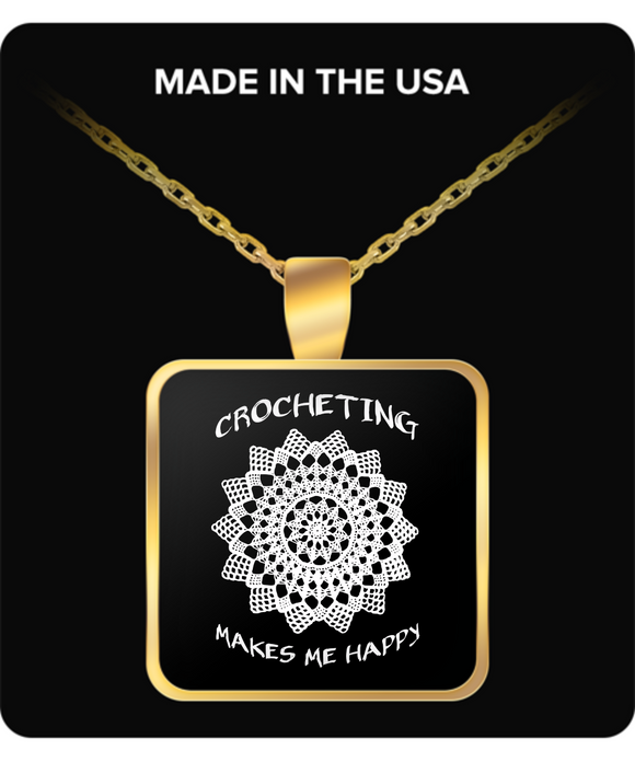 Crocheting Makes Me Happy Pendant (gold plated) - Crafter4Life