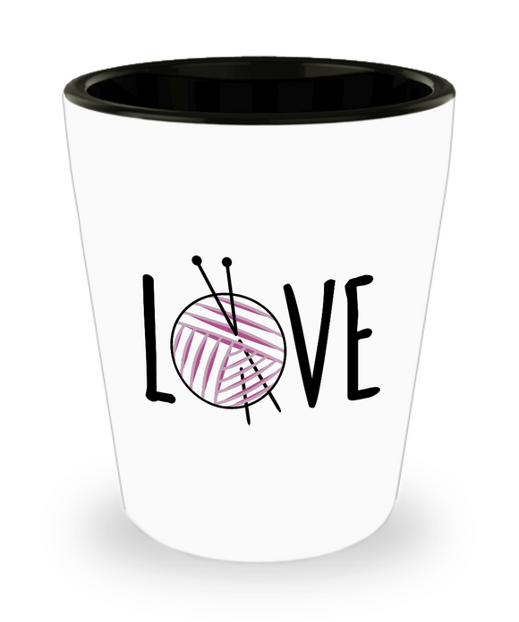 Knitting LOVE Shot Glass
