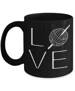 LOVE Crochet Mug (black) 11 oz - Crafter4Life - 1