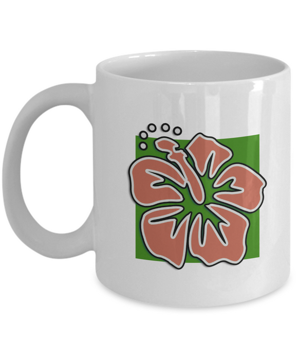 Hawaiian Coral Flower - 11 or 15 oz Tiki Ceramic Mug