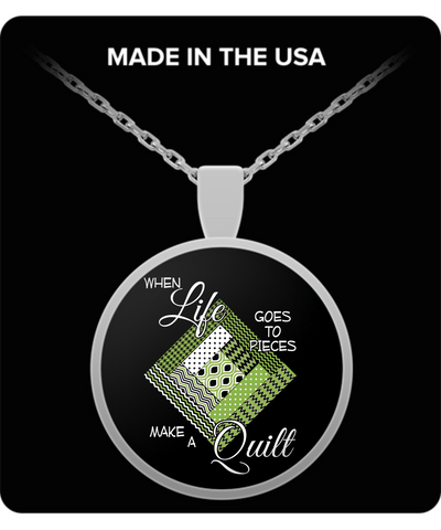 Make a Quilt Pendant (Greenery) silver or goldplated