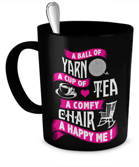A Ball of Yarn, A Happy Me Mug (black) (11oz) - Crafter4Life - 1