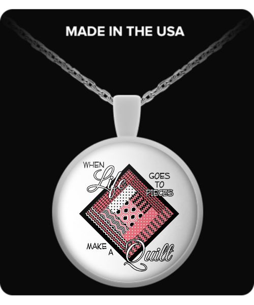 Make a Quilt (pink) Pendant (silver plated) - Crafter4Life