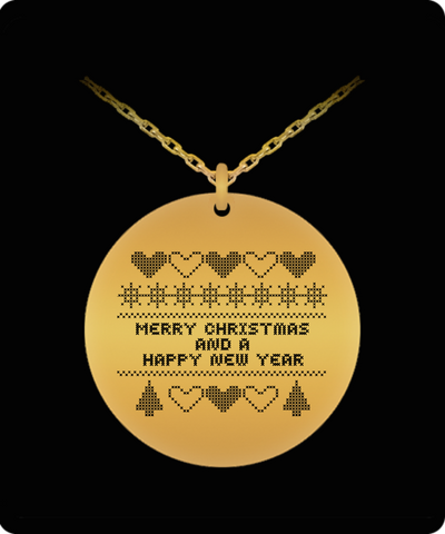 Cross Stitch Christmas Sampler Laser Engraved Pendant