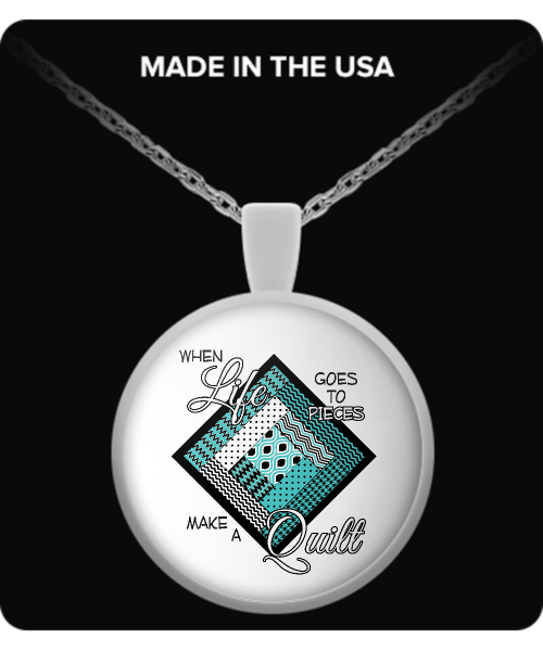Make a Quilt (turquoise) Pendant (silver plated) - Crafter4Life