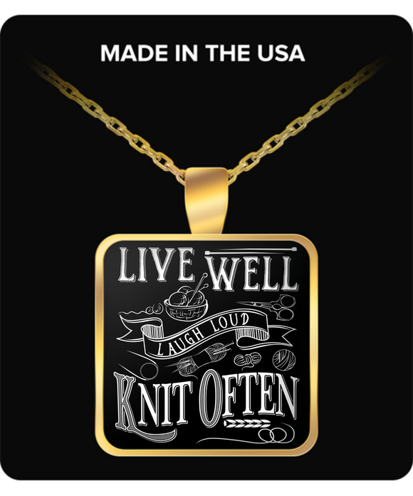 Knit Often Pendant (gold plated) - Crafter4Life