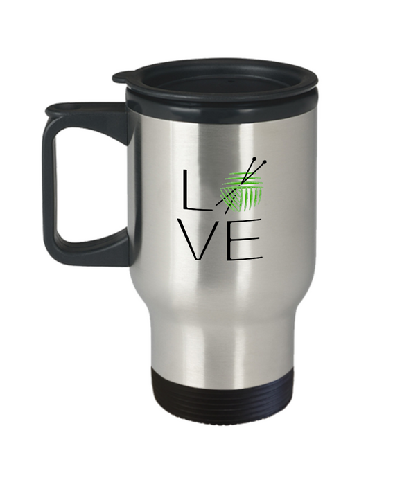 LOVE Knitting Stainless Steel Insulated Travel Mug