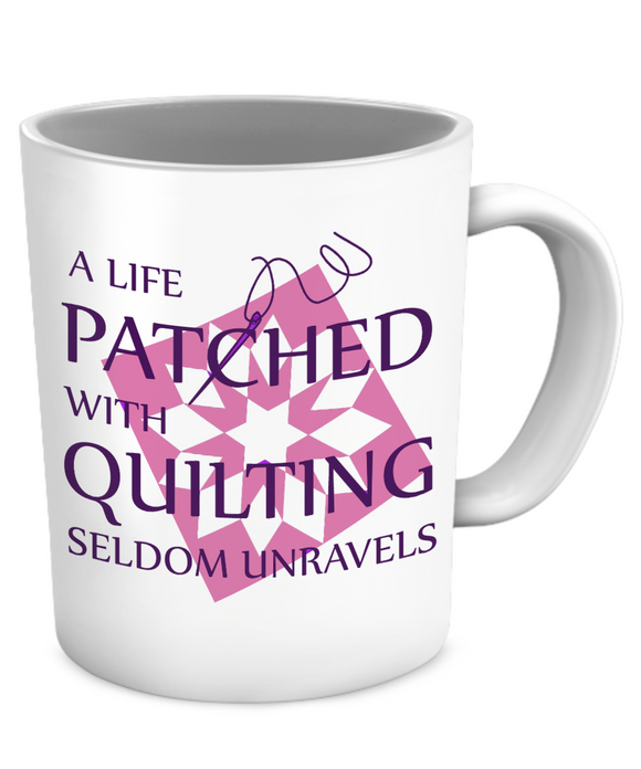 Patched with Quilting Mug (white) (11oz) - Crafter4Life