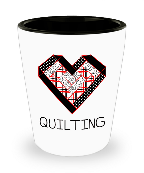 Log Cabin Heart Quilting Shot Glass